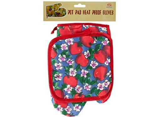 Quilted Fruit & Floral Print Oven Mitt & Pot Holder Set - Pack of 54