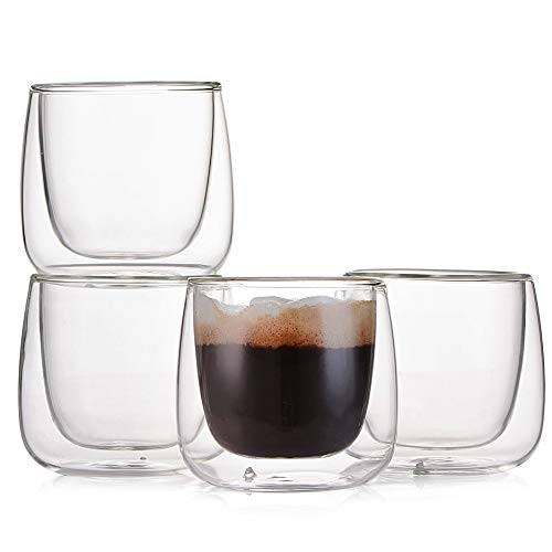 Wall Crema (Espresso Cups Shot Glass Coffee Set of 4 - Double Wall Thermo Insulated Glasses, 3.5 Ounce)