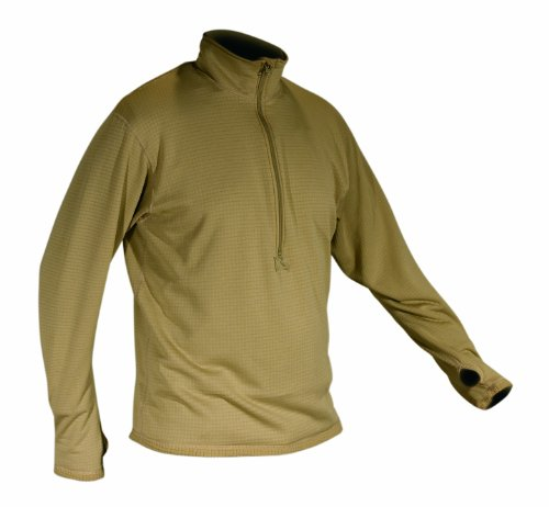 KENYON Men's Polartec Grid Fleece Zip Thermal Turtleneck, Desert Sand, Small