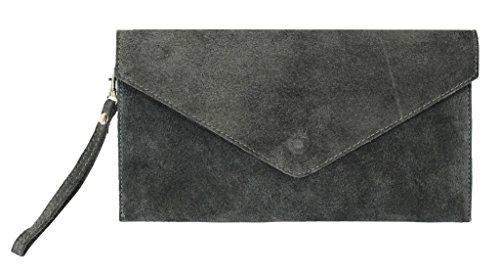 BHBS Bolso para Dama tipo Sobre de mano en Cuero Gamuzado Italiano Auténtico 30.5 x 16 cm (LxA) gris oscuro