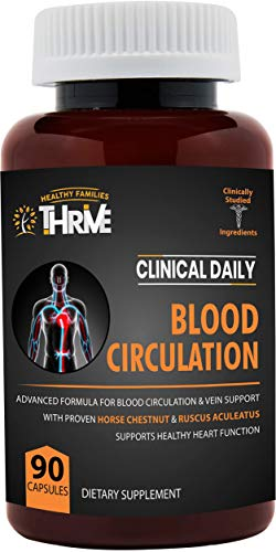 CLINICAL DAILY Blood Circulation Supplement. Butchers Broom, Horse Chestnut, Cayenne, Arginine, Diosmin. Herbal Varicose Vein Treatment. Poor Circulation and Vein Support for Healthy Legs. 90 Capsules