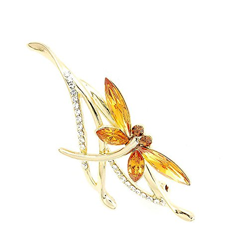 Glamorousky Dragonfly Brooch with Yellow Austrian Element Crystals (Cubic Zirconia Dragonfly Brooch)