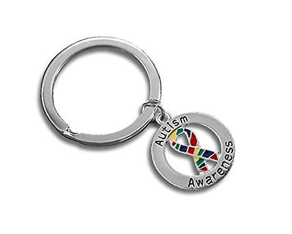Amazon com: 12 Autism Awareness Ribbon Round Key Chains