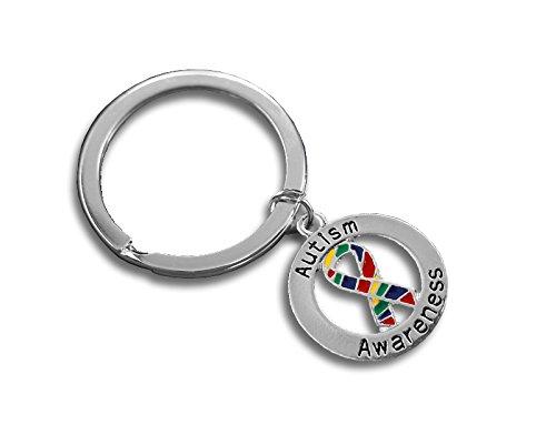 12 Autism Awareness Ribbon Round Key Chains (Wholesale Pack - 12 Key Chains) Awareness Key