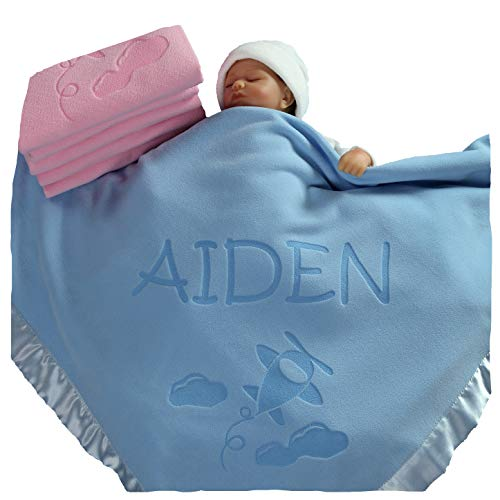 Personalized Airplane Baby Blanket Gifts - Large Custom Blankets, Boy or Girls (Blue, Pink: 1 Text Line)]()