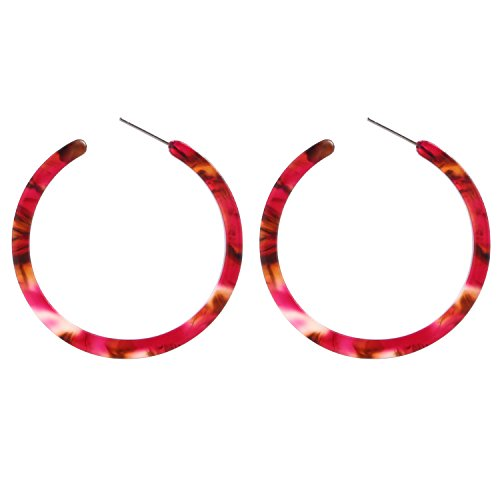 Red Resin Earrings - BaubleStar Tortoise Shell Resin Hoop Earrings Acrylic Round Circle Dangle Amber Ear Drops Fashion Jewelry for Women Girls B0106MR