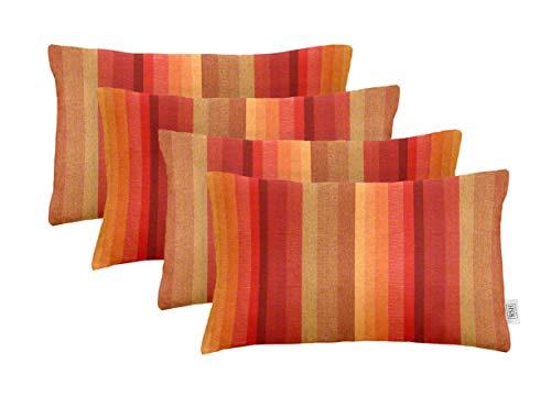 RSH Décor Set of 4 Indoor Outdoor Decorative Rectangle Lumbar Throw Pillows Sunbrella Astoria Sunset (20