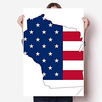 DIYthinker Wisconsin America Map Stars Stripes Flag Shape Vinyl Wall Sticker Poster Mural Wallpaper Room Decal 80X55cm