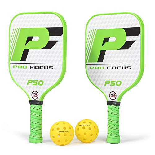 - Pro Focus Pickleball Paddles P50 Doubles Pickleball Paddle Set - Features Premium Composite Material
