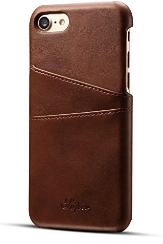 iPhone 8 Wallet Phone Case, iPhone 7 Case, XRPow Slim PU Leather Back Protective Case Cover With Credit Card Holder Brown (Pu Slim Design Leather)