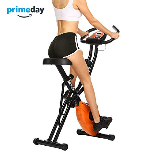 - ANCHEER Folding Magnetic Exercise Bike, 10-Level Adjustable Stationary Bike - Tablet Stand & Large and Comfortable Seat