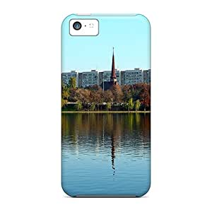 Awesome Church Lake Reflection Flip Cases With Fashion Design For Iphone 5c