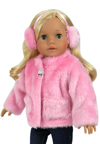 18 Inch Doll Clothes Pink Fur Coat & Earmuff/Headband fits 18 Inch American Girl Dolls & More, Jeweled Fur Coat in Pink & Headband/Earmuffs
