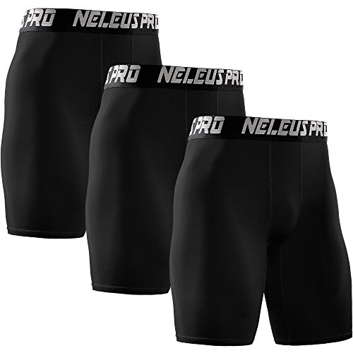 Neleus Men's 3 Pack Athletic Compression Short,6028,Black,US M,EU L