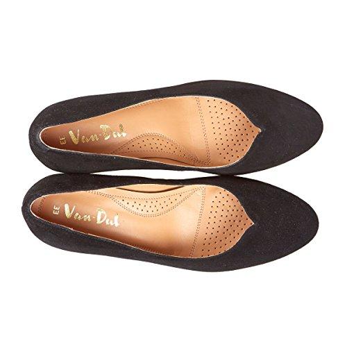 Van Dal Hannover Amplio Montaje De Las Señoras Zapatos De Tacón De Cuña Negro Gamuza/stardust