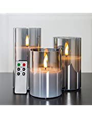 """Eywamage Glass Flameless Candles with Remote Battery Operated Flickering LED Pillar Candles Real Wax Wick 3 Pack D 3"""" H 4"""" 5"""" 6"""" Grey"""