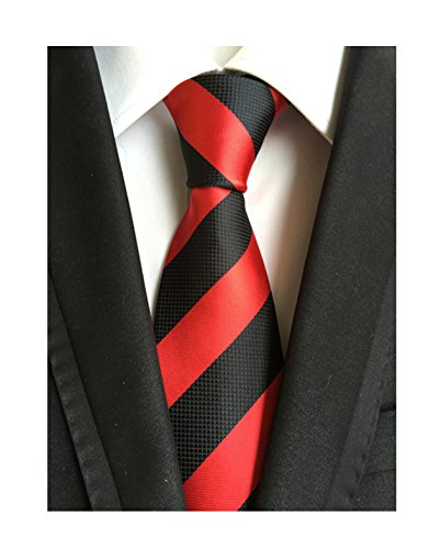 Diagonal Stripe Woven Tie - Striped Black and Red Jacquard Woven Gift Ties for Men Formal Graduation Necktie
