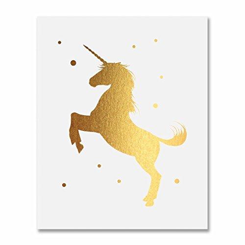 Unicorn Gold Foil Print Poster Nursery Art Babys Room Children Kids Metallic Gold Decor 8 inches x 10 inches E39