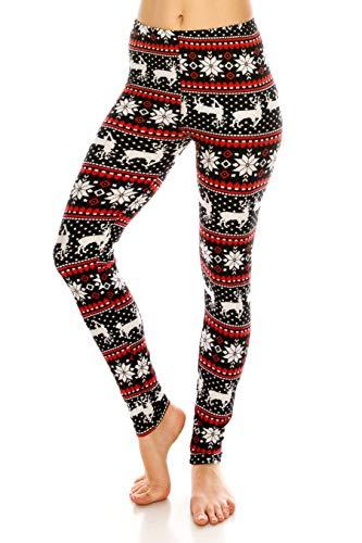 ALWAYS Leggings Women Nordic Christmas - Printed Snowflake Reindeer Winter Premium Buttery Soft Stretch Pants Regular -