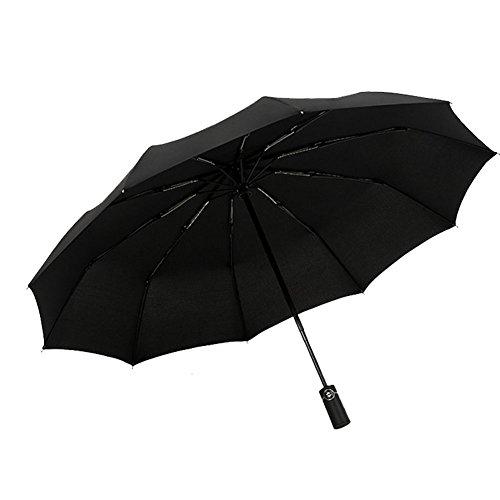 DCRYWRX Umbrella Windproof Waterproof Large Double Folding Umbrella Automatic Folding Business Umbrella Tri-Fold Umbrella,Black by DCRYWRX