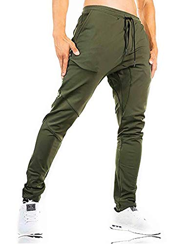 MINHAO Men's Joggers Workout Bodybuilding Pants Outdoor Hiking Pants with Pockets Army Green