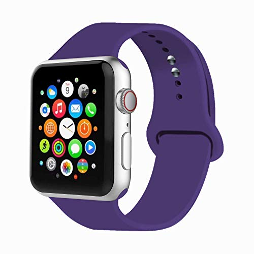 IYOU Sport Band Compatible with Watch Band 38MM 42MM 40MM 44MM, Soft Silicone Replacement Sport Strap Compatible with 2018 Watch Series 5/4/3/2/1(Purple,38MM, S/M) from IYOU