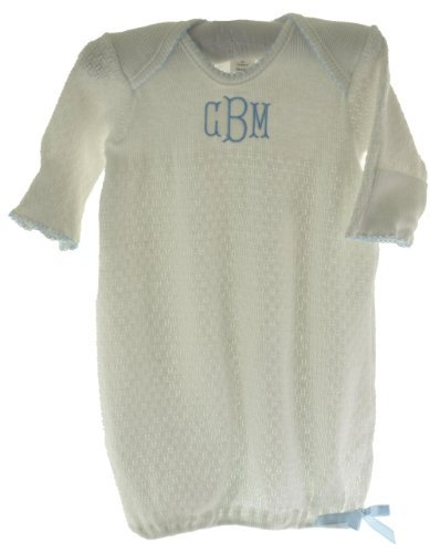 Paty Inc Infant Baby Boys Take Home Gown White with Blue Trim-Newborn