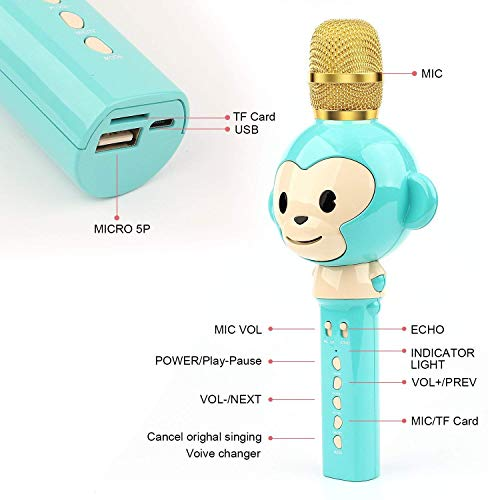 LingHui Kids Microphone Wireless Bluetooth Karaoke Microphone , 3-in-1 Portable Handheld Karaoke Mic Home Party Birthday Speaker Machine for iPhone/Android/iPad/Sony,PC and All Smartphone (Green) by LingHui (Image #1)