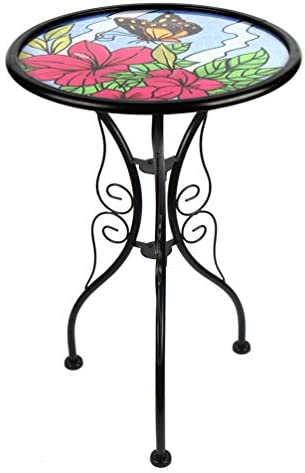 HONGLAND Butterfly Outdoor Side Table Accent Round Painted Glass Desk