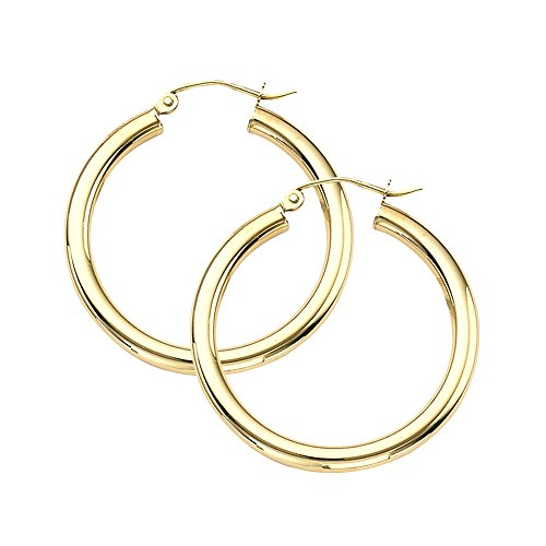 14K Gold Thick Tube Hoop Earrings w/ Click-Down Clasp, (3mm Tube) (30mm - Yellow Gold) by LooptyHoops