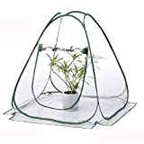 TECHSON Mini Pop-up Greenhouse with Clear Cover Protected Plant Grow House, Portable Flower Tent Shelter for Garden Outdoor Backyard