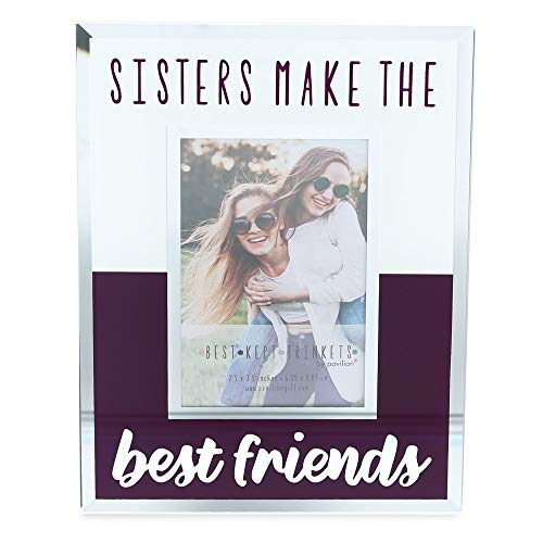 Pavilion Gift Company Holds 2.5 x 3.5 inch Polaroid Picture Frame Sisters Make The Best Friends, 4.75 x 6 Inch, Purple (Sisters Make The Best Friends)