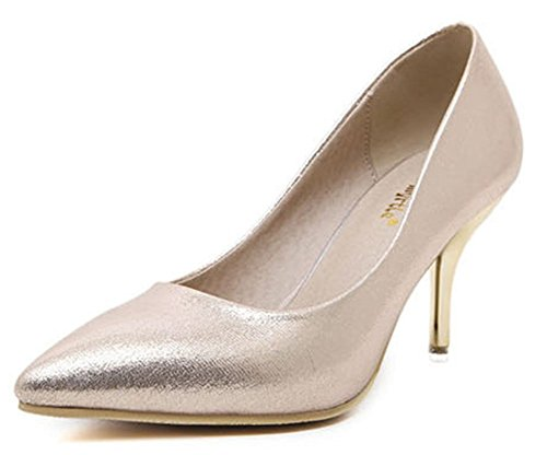 Easemax Womens Elegant Stiletto Pointed Toe Low Top Slip On D-orsay High Heel Pumps Shoes Gold