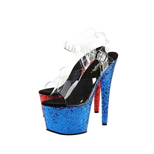 Pleaser Plateau Knöchelriemen Sandale Transparent/Rot-Blau Glitzer-Effekt auf der Plattform und Absatz, Vegan, ADORE-708HQSQ