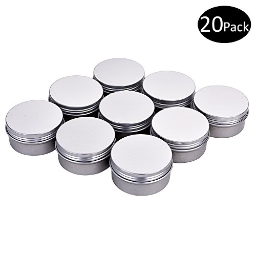 Fizz 3 oz. Metal Tins Cans Bulk Storage Aluminum Jars Round Food Tins Screw Top Refillable Containers 3 Oz Tins Jars,Pack of 20(Silver)