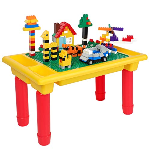 burgkidz Building Bricks 200 Pieces - Kids Building Block Table and Base Plate, 3 in 1 Children Building Toys Sets Classic Educational Building Blocks (200 - Lego Older Kids For Table