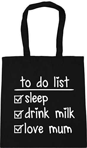 mum do Tote 10 love Bag drink sleep Beach HippoWarehouse list x38cm Black litres Gym milk To Shopping 42cm 8xc01cqw5