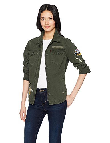 Levi's Women's Two-Pocket Shirt Jacket With Patches, Olive, Extra (Green Embroidered Jacket)