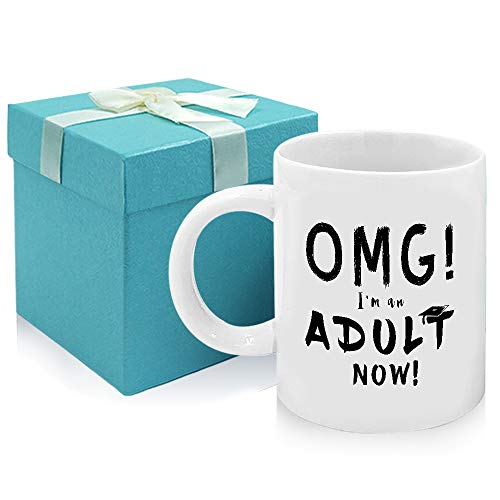 Tom Boy Funny 18th Birthday Gift OMG I'm An Adult Now Mug,Adult Gifts Graduation Pressent for Friends 11oz Coffee Mugs