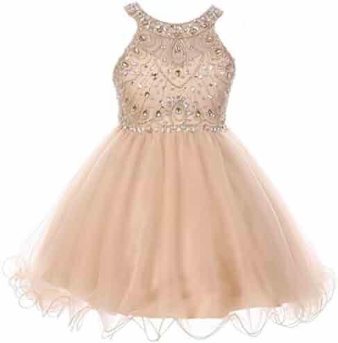 b0206cbb8 Dreamer P Girls Dress Sparkle Rhinestones Holiday Christmas Party Flower Girl  Dress 4-18