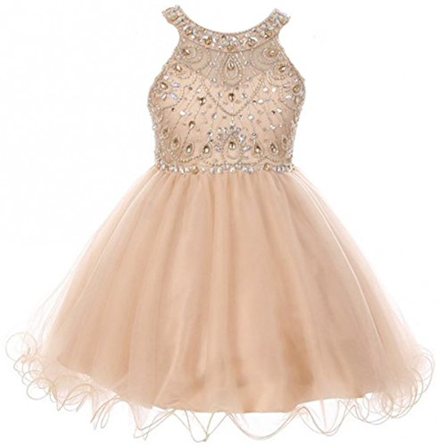 - Big Girls' Dress Sparkle Rhinestones Holiday Christmas Party Flower Girl Dress Champagne Size 10 (M10BK50)