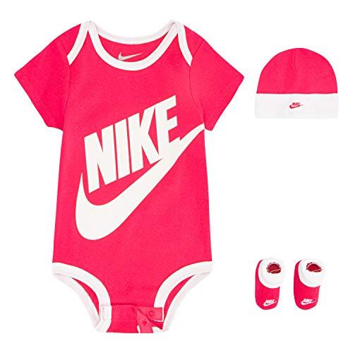 NIKE Children's Apparel Baby Hat, Bodysuit and Bootie Three Piece Set, Pink Sportswear, 6/12