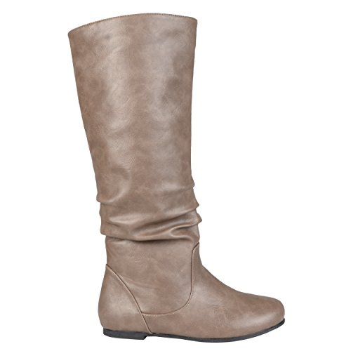 Journee Collection Womens Regular Sized and Wide-Calf Mid-Calf Slouch Riding Boots Brown Patent