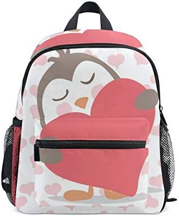 リュック 子供用 ペンギン こころ ピンク キッズ デイパック 大容量 軽量 通園 保育園 3-8歳 遠足 リュックサック 女の子 男の子 旅 プレゼント
