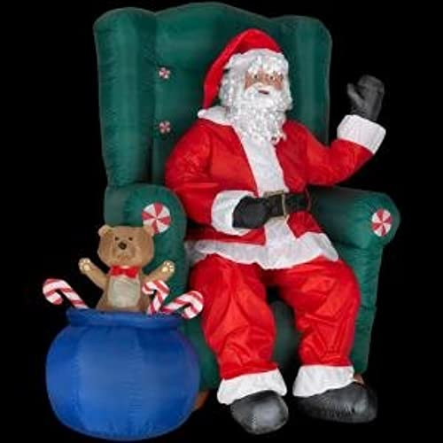 christmas decoration lawn yard inflatable animated santa in chair with teddy bear 5 tall