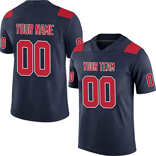 Womens Customized Replica Home Jersey - Pullonsy Navy Customized Football Jerseys for Men Embroidered Team Name and Your Numbers Camo Salute to Service Big and Tall Jersey,Red-White Size 4XL