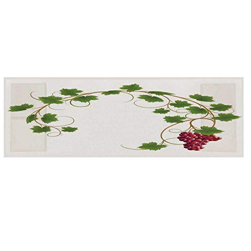 Grapes Home Decor Cotton & Linen Microwave Oven Protective Cover,Curved Ivy Branch Deciduous Woody Wines Seed Clusters Cabernet Kitchen Cover for Kitchen,36