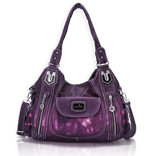 Handbag Hobo Women Handbag Roomy Multiple Pockets Street ladies' Shoulder Bag Fashion PU Tote Satchel Bag for Women (AK812-2Z Dark Purple, Large)