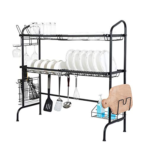 Over Sink Dish Drying Rack,Weluvfit 2 Tier Stainless Steel Non-slip Dish Rack with Utensil Holder Hooks for Kitchen Counter