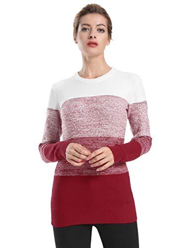 ninovino Women's Tunic Sweater Crewneck Color Blocked Long Sleeve Sweater Red - Trim Striped Crewneck Sweater